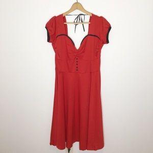 NWT Lindy Bop Retro Dress Red midi-length 50'x XL
